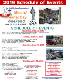 2017 Miners Memorial Day Festival Schedule